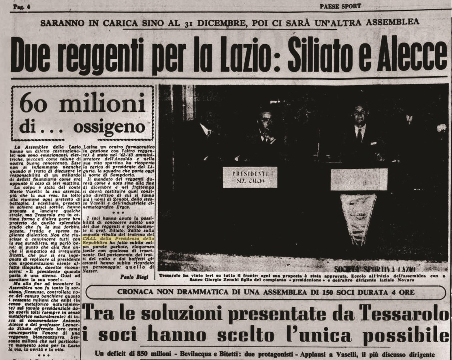Il Paese 5 novembre 1956 - Assemblea nella sede Cral Presidenza della Repubblica