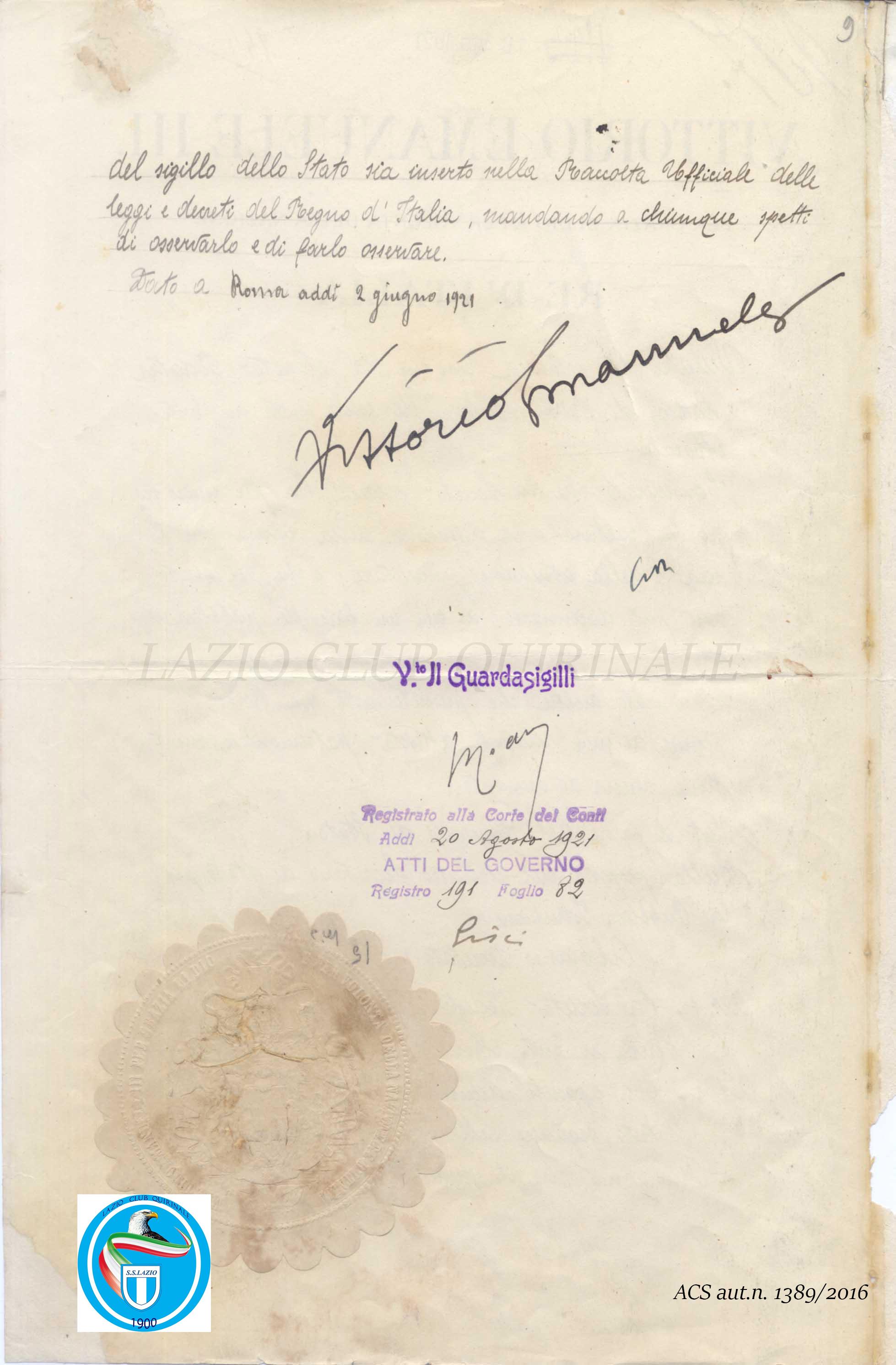 Regio Decreto n.907 del 2 giugno 1921 pag 2 - La Lazio eretta ente morale