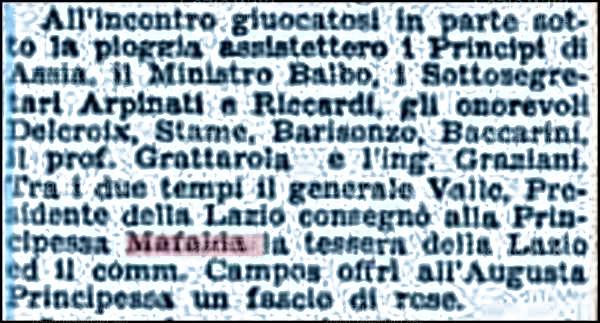 Rilascio tessera a Mafalda di Savoia (da Laziowiki)
