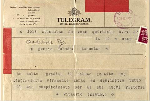 Telegramma di Vittorio Emanuele III al premio nobel Grazia Deledda (da ISRE Istituto Sardo Regionale Etnografico)